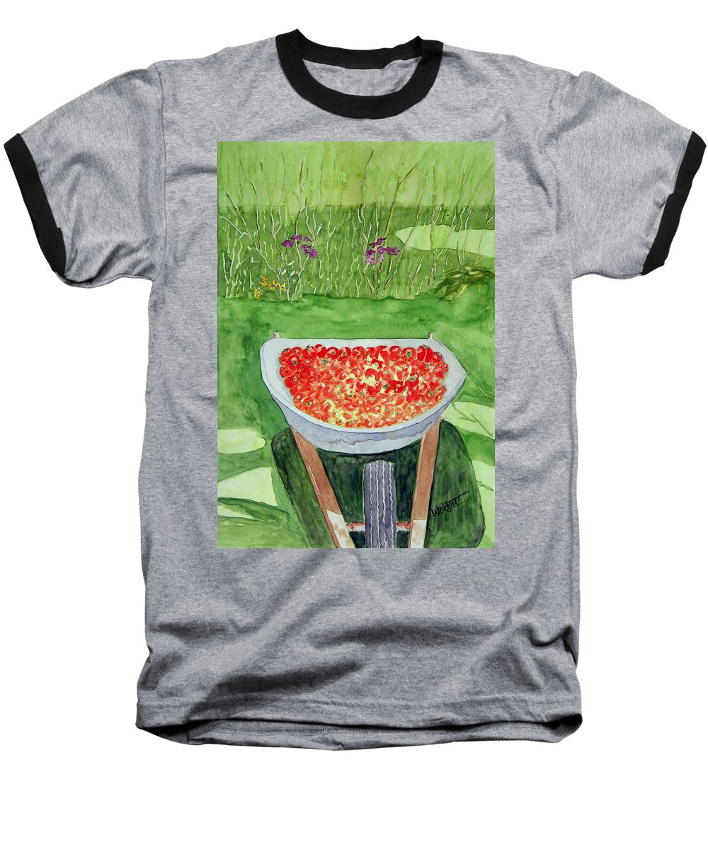 Rural Paintings Baseball T-Shirt featuring the painting Summer Bounty by Larry Wright