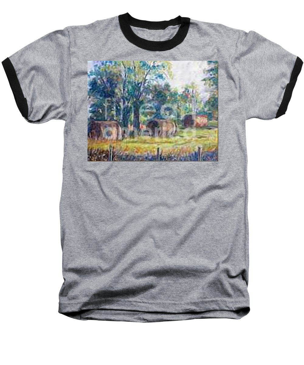 Landscape Baseball T-Shirt featuring the painting Summer Idyll by Jan Bennicoff