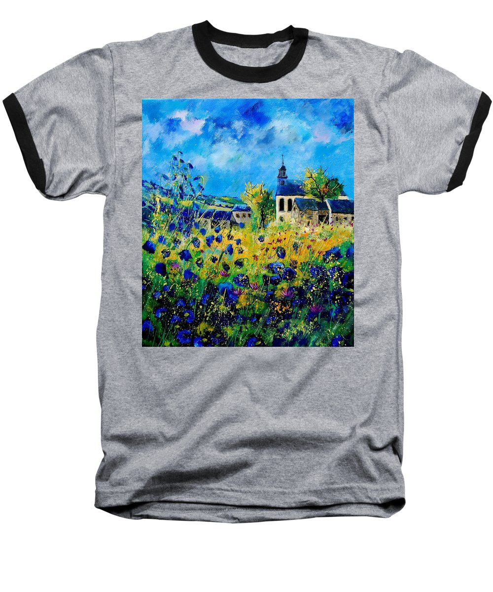 Poppies Baseball T-Shirt featuring the painting Summer In Foy Notre Dame by Pol Ledent