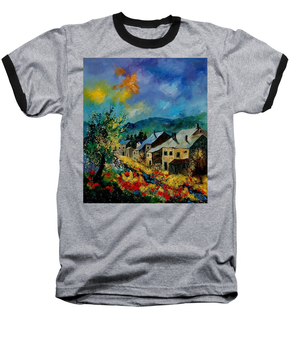 Poppies Baseball T-Shirt featuring the painting Summer In Mogimont by Pol Ledent
