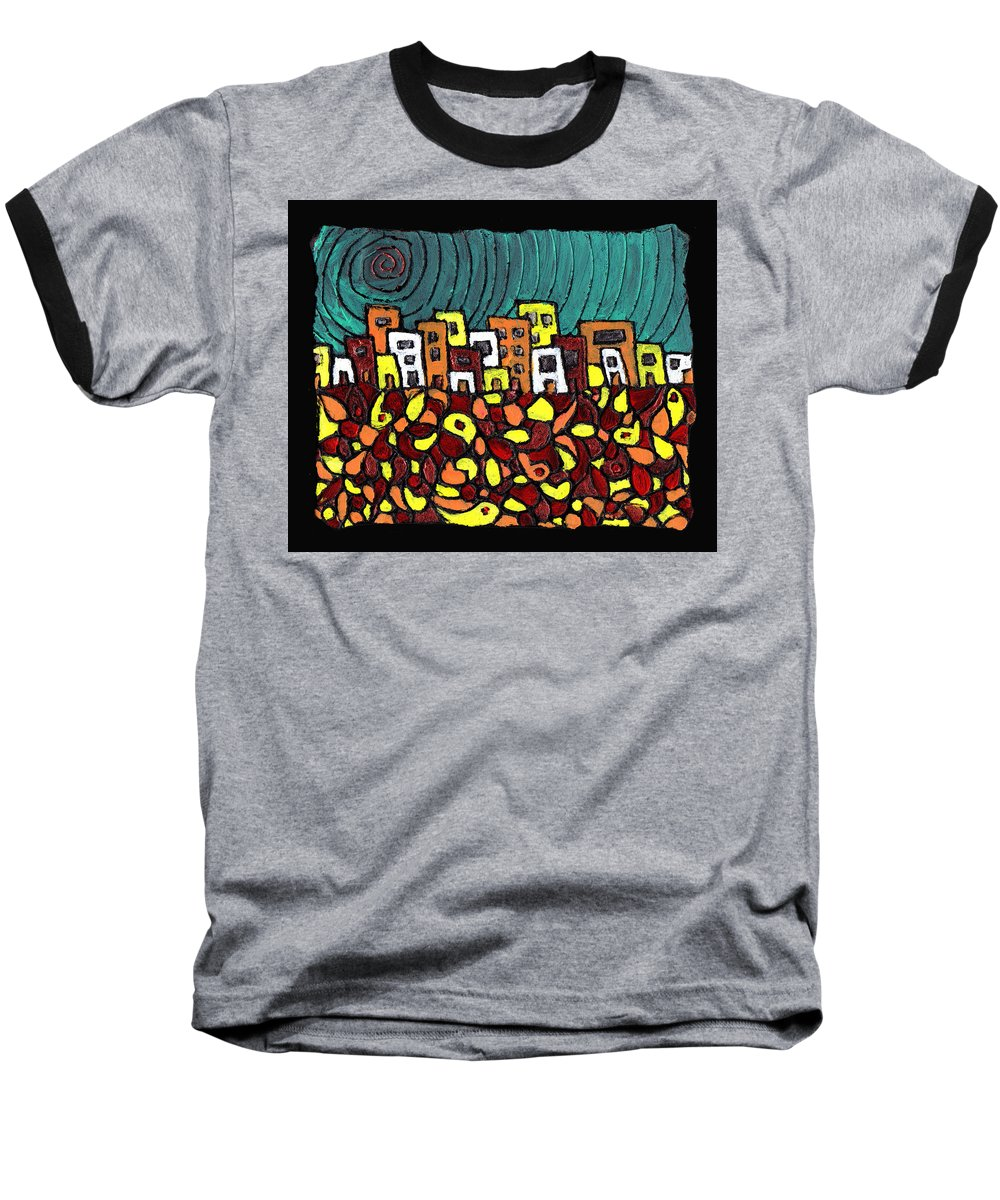 City Baseball T-Shirt featuring the painting Summer In The City by Wayne Potrafka