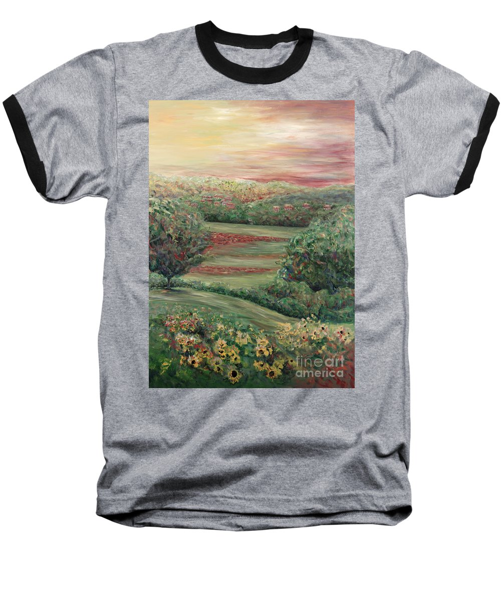 Landscape Baseball T-Shirt featuring the painting Summer In Tuscany by Nadine Rippelmeyer