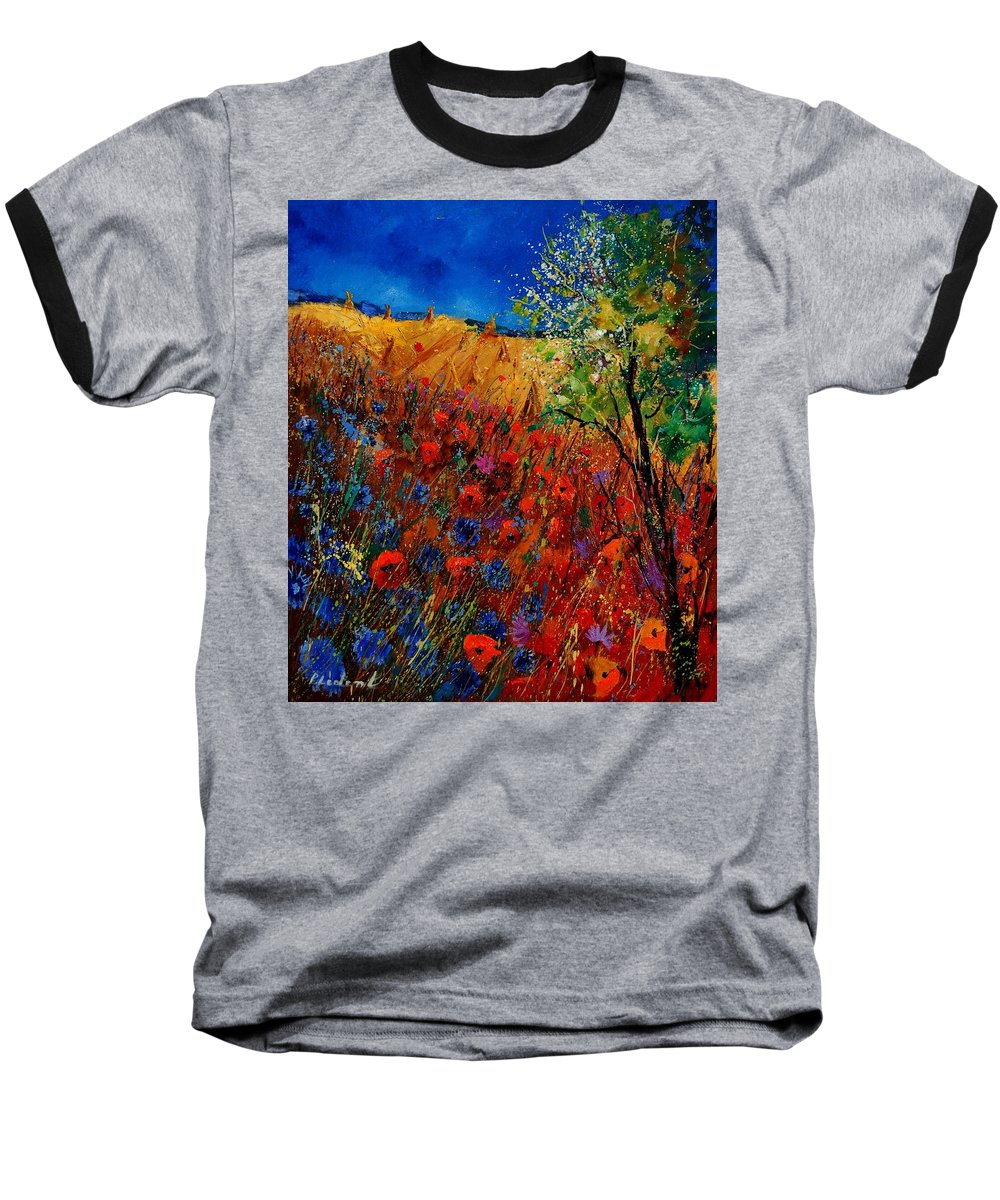 Flowers Baseball T-Shirt featuring the painting Summer Landscape With Poppies by Pol Ledent