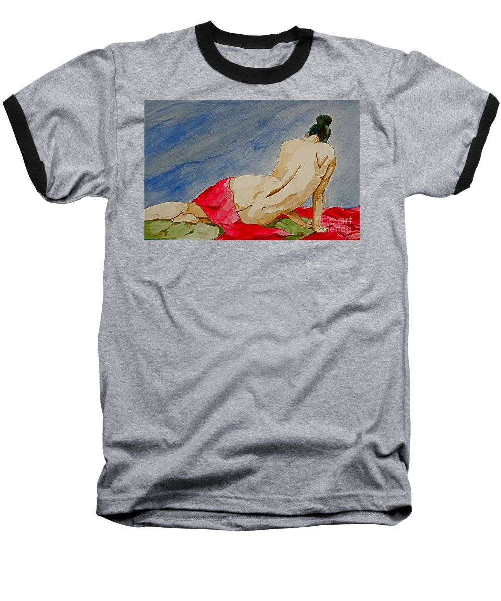Nudes Red Cloth Baseball T-Shirt featuring the painting Summer Morning 2 by Herschel Fall
