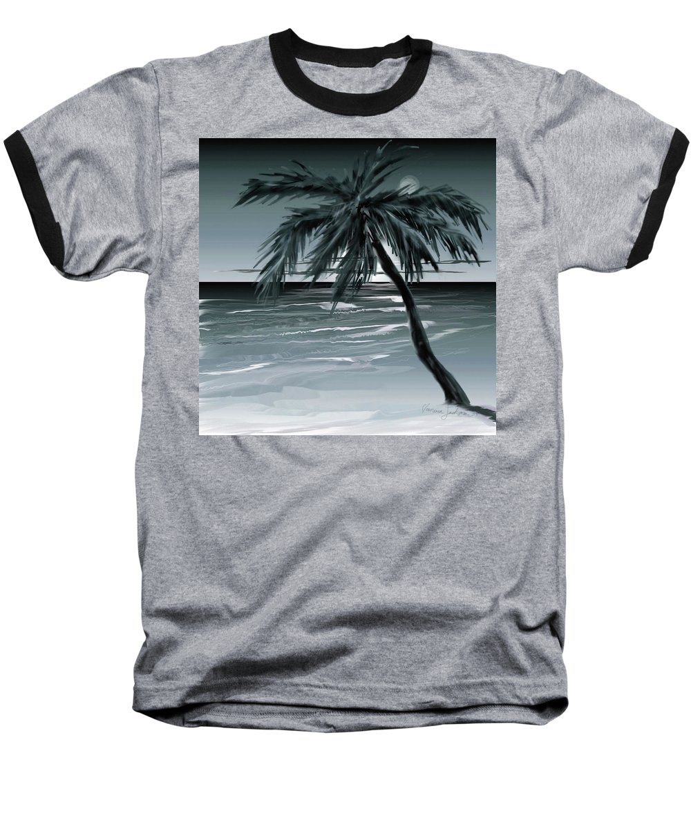 Water Beach Sea Ocean Palm Tree Summer Breeze Moonlight Sky Night Baseball T-Shirt featuring the digital art Summer Night In Florida by Veronica Jackson