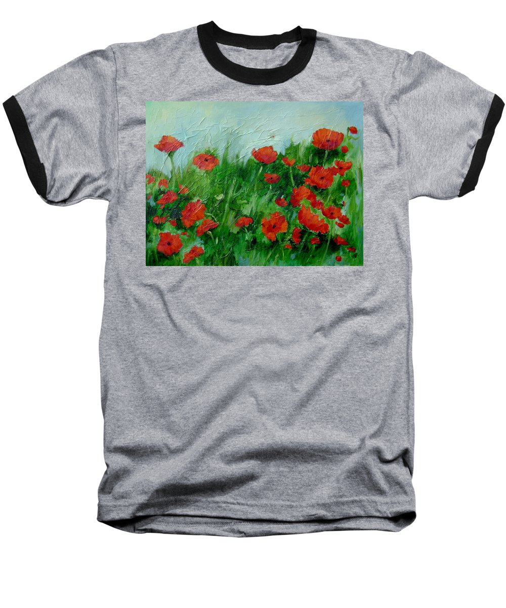 Red Poppies Baseball T-Shirt featuring the painting Summer Poppies by Ginger Concepcion