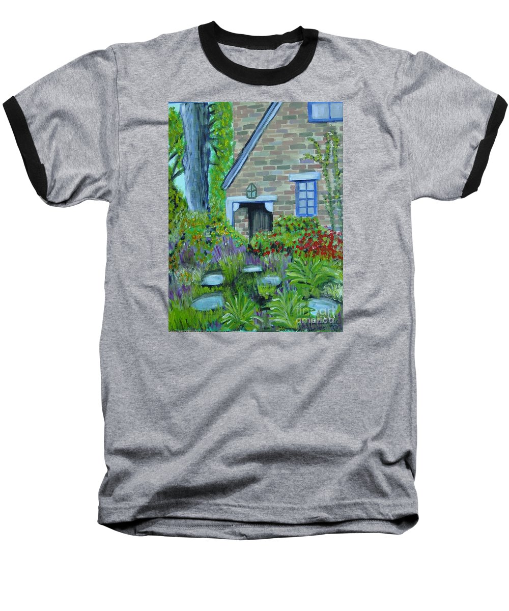 Cottage Baseball T-Shirt featuring the painting Summer Retreat by Laurie Morgan