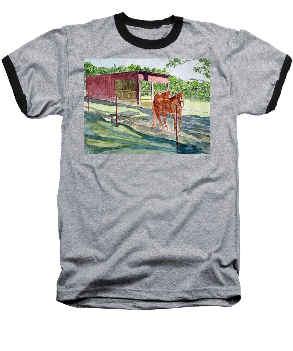 Horse Art Baseball T-Shirt featuring the painting Summer Shade by Larry Wright