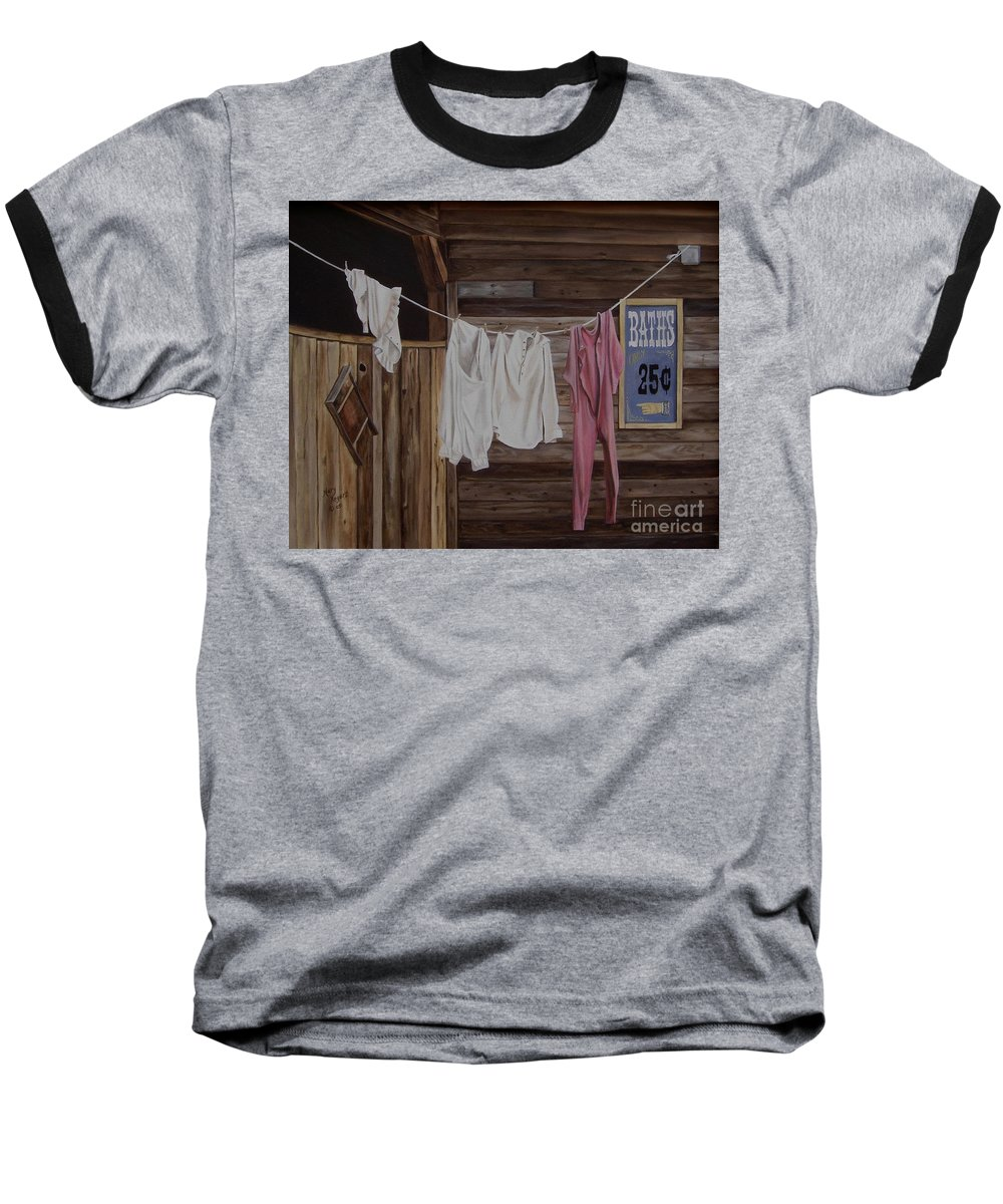 Art Baseball T-Shirt featuring the painting Sun Dried by Mary Rogers