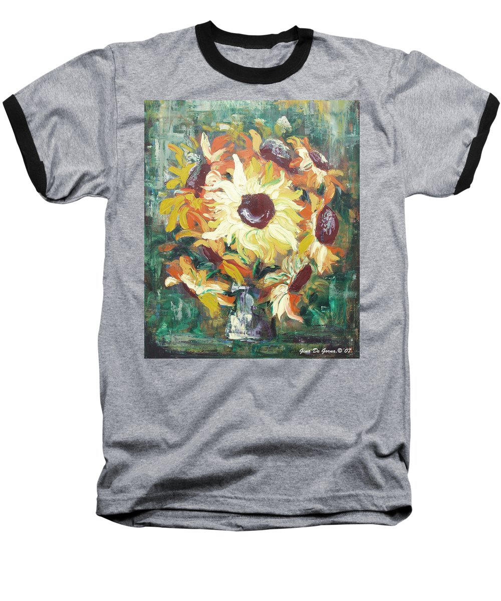 Sunflowers Baseball T-Shirt featuring the painting Sun In A Vase by Gina De Gorna