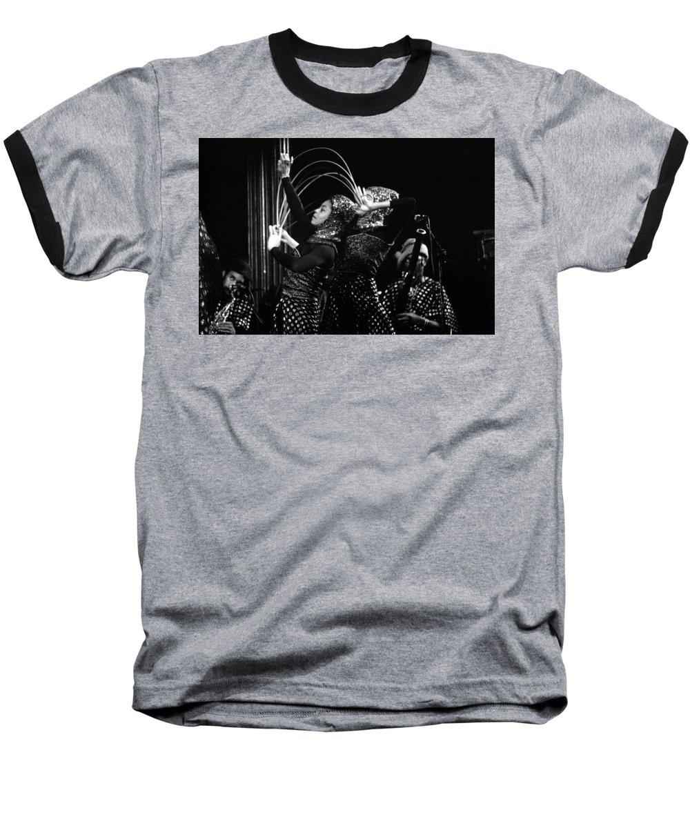 Sun Ra Baseball T-Shirt featuring the photograph Sun Ra Arkestra And Dancers by Lee Santa