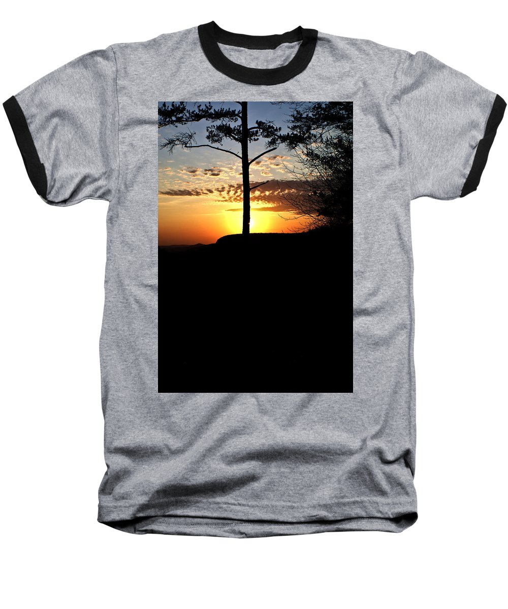 Sunburst Baseball T-Shirt featuring the photograph Sunburst Sunset by Douglas Barnett