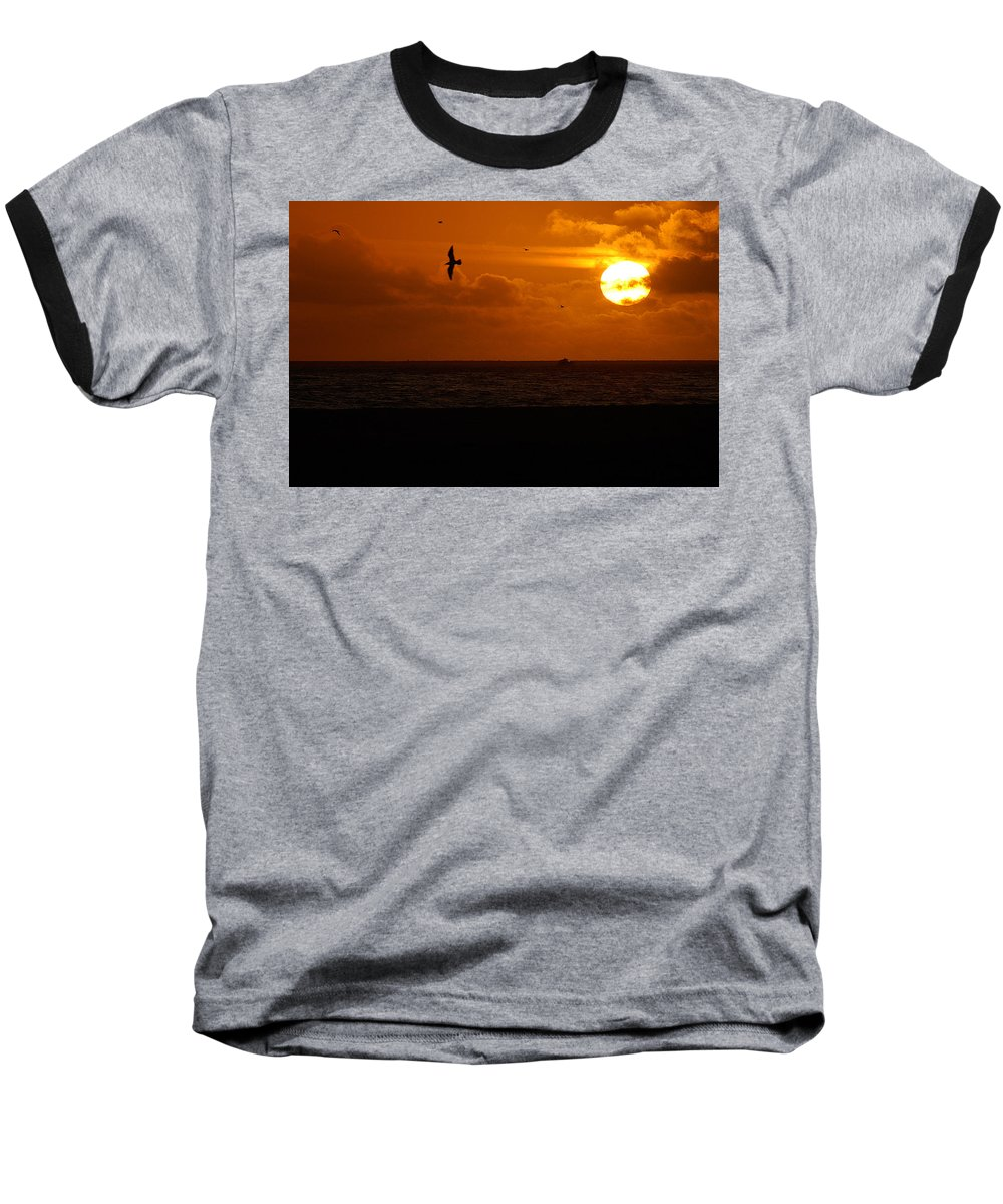 Clay Baseball T-Shirt featuring the photograph Sundown Flight by Clayton Bruster