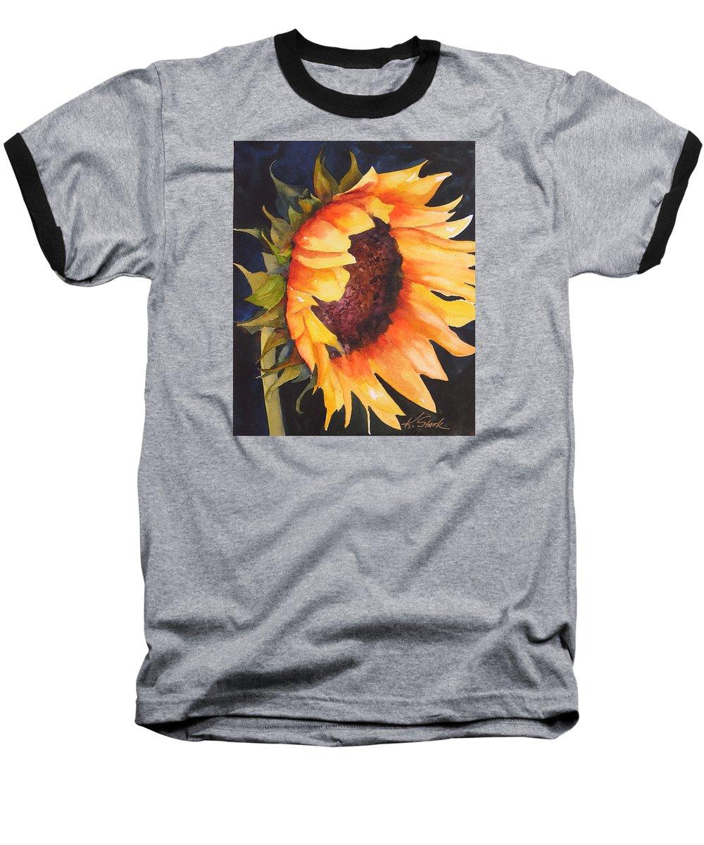 Floral Baseball T-Shirt featuring the painting Sunflower by Karen Stark