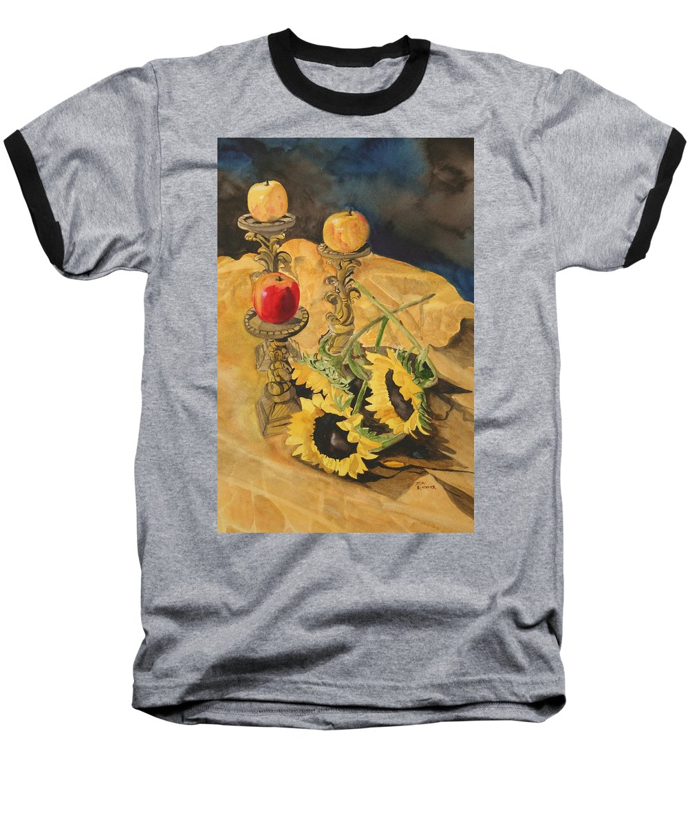 Still Life Baseball T-Shirt featuring the painting Sunflowers And Apples by Jean Blackmer