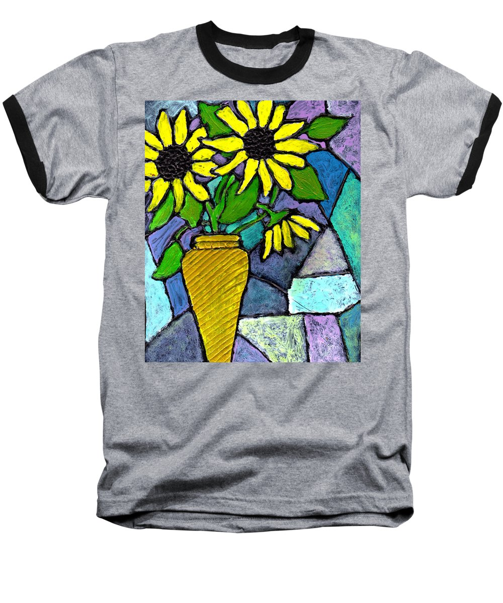 Flowers Baseball T-Shirt featuring the painting Sunflowers In A Vase by Wayne Potrafka