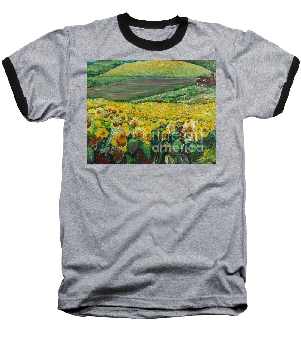 A Field Of Yellow Sunflowers Baseball T-Shirt featuring the painting Sunflowers In Provence by Nadine Rippelmeyer