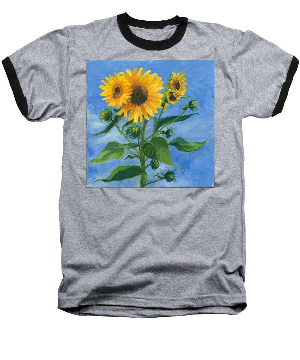 Flowers Baseball T-Shirt featuring the painting Sunflowers On Bauer Farm by Paula Emery