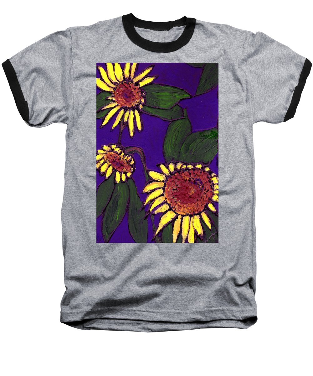 Sunflowers Baseball T-Shirt featuring the painting Sunflowers On Purple by Wayne Potrafka