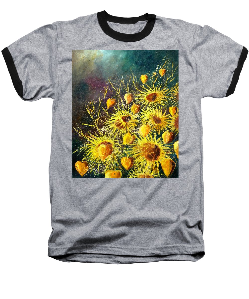 Flowers Baseball T-Shirt featuring the painting Sunflowers by Pol Ledent