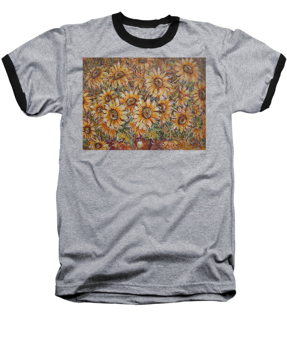 Flowers Baseball T-Shirt featuring the painting Sunlight Bouquet. by Natalie Holland