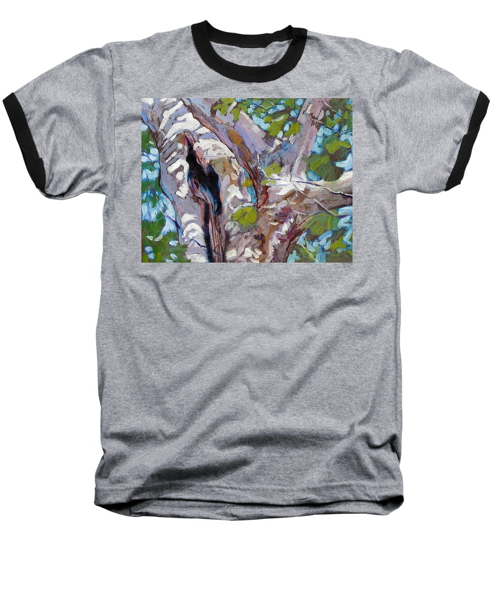 Tree Baseball T-Shirt featuring the painting Sunlight On Sycamore by John Lautermilch