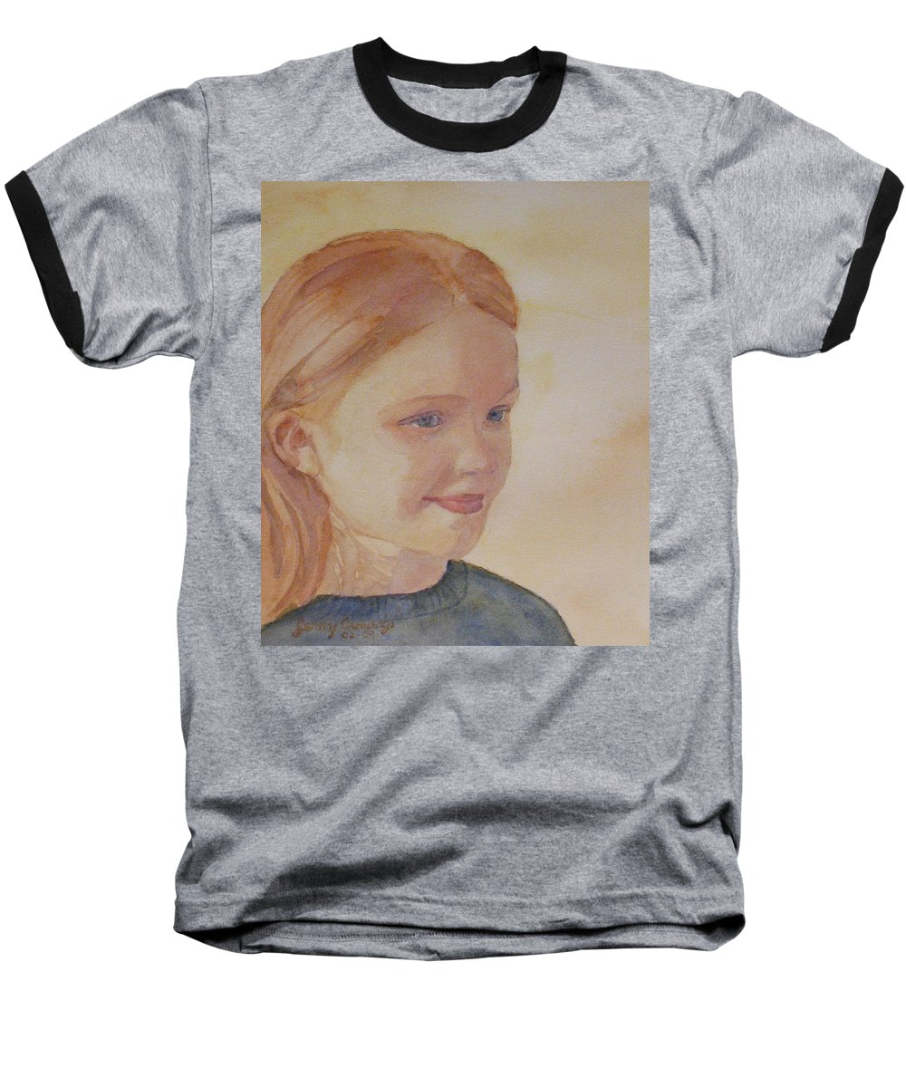 Girl Baseball T-Shirt featuring the painting Sunnie Birdie by Jenny Armitage