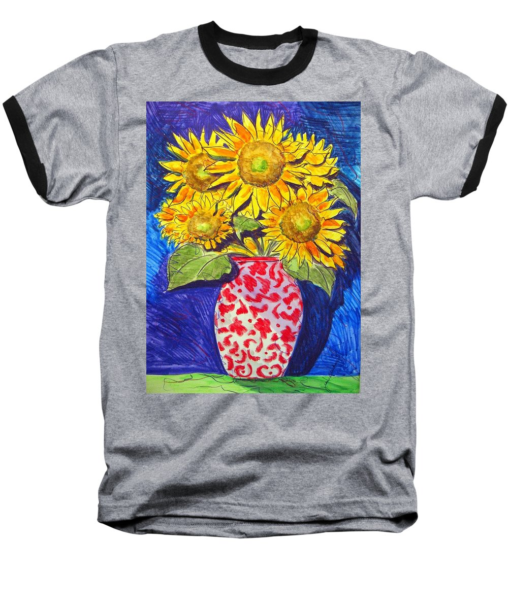 Sunflower Baseball T-Shirt featuring the painting Sunny Disposition by Jean Blackmer