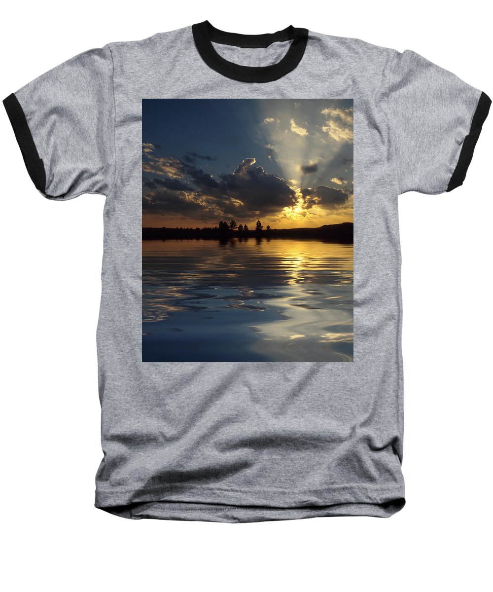 Sunset Baseball T-Shirt featuring the photograph Sunray Sunset by Jerry McElroy