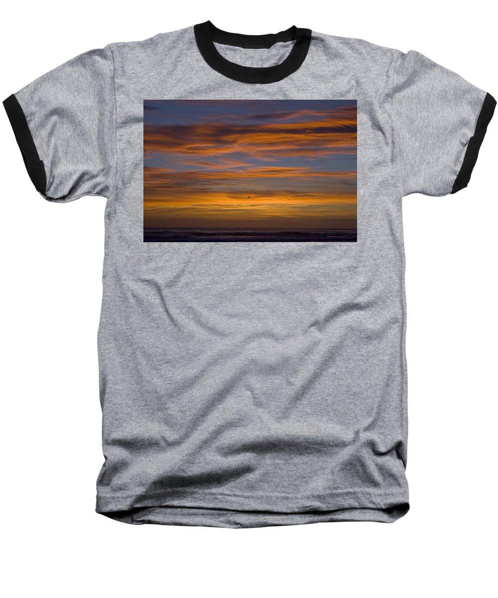 Sun Sunrise Cloud Clouds Morning Early Bright Orange Bird Flight Fly Flying Blue Ocean Water Waves Baseball T-Shirt featuring the photograph Sunrise by Andrei Shliakhau