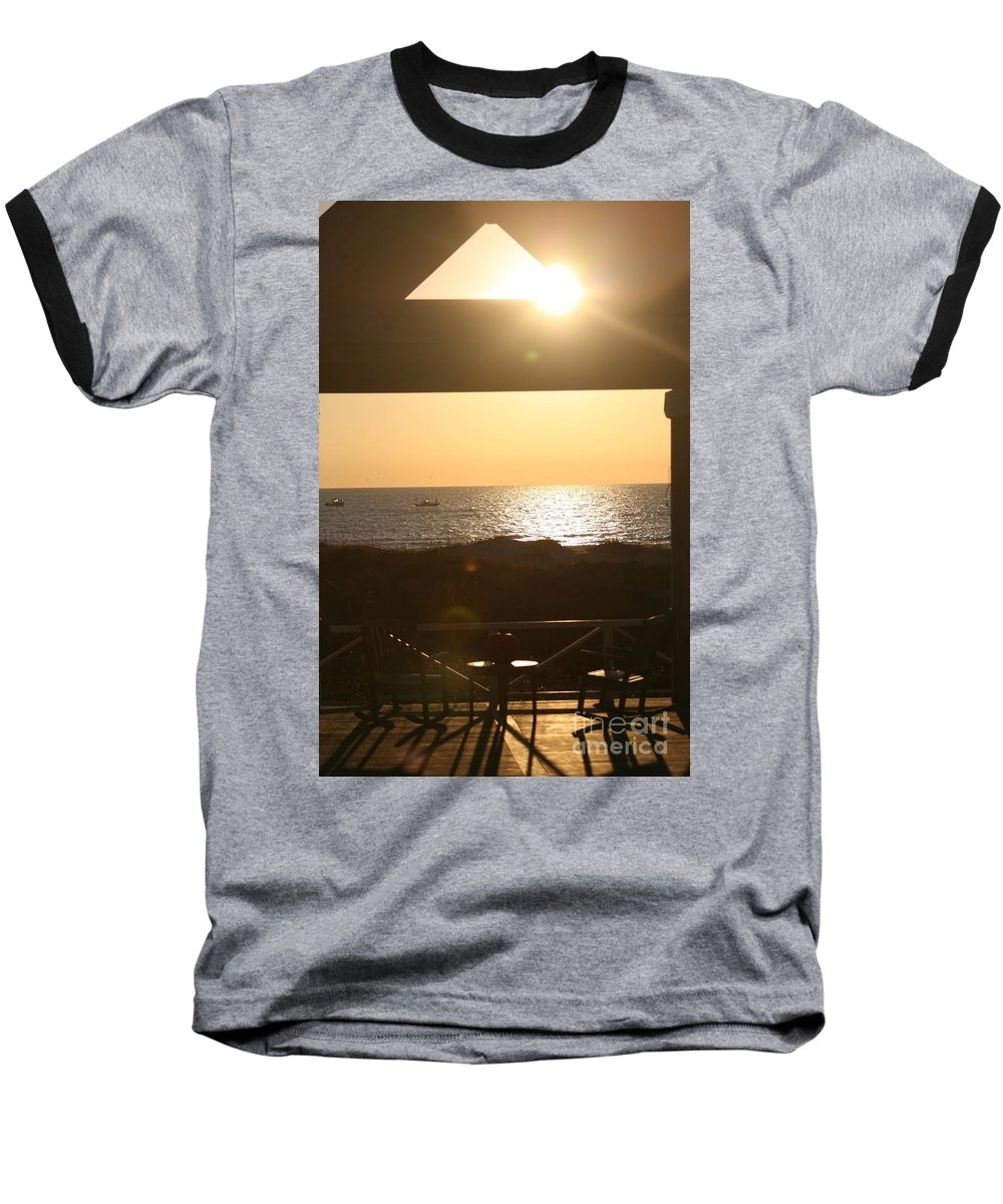 Sunrise Baseball T-Shirt featuring the photograph Sunrise Through The Pavilion by Nadine Rippelmeyer