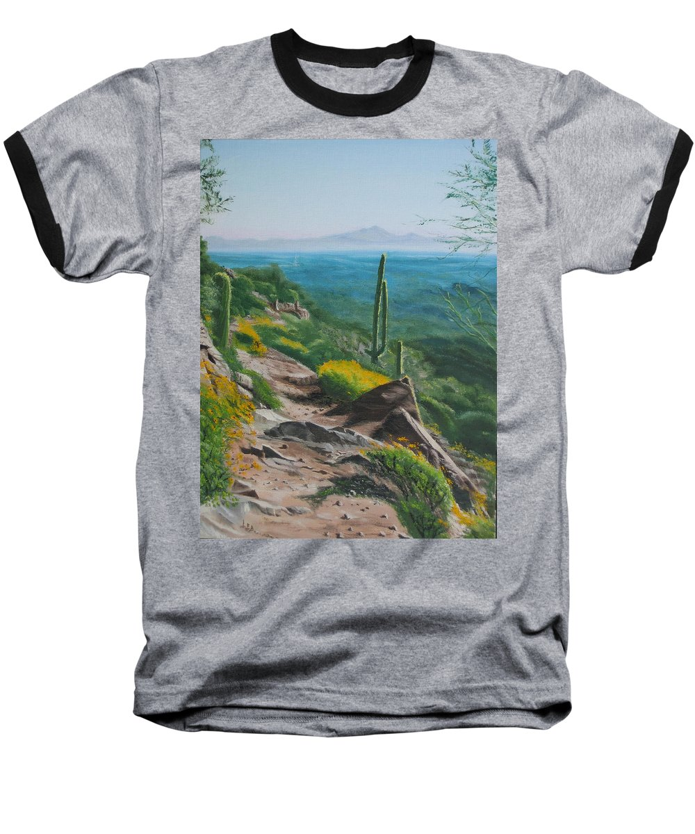 Landscape Baseball T-Shirt featuring the painting Sunrise Trail by Lea Novak