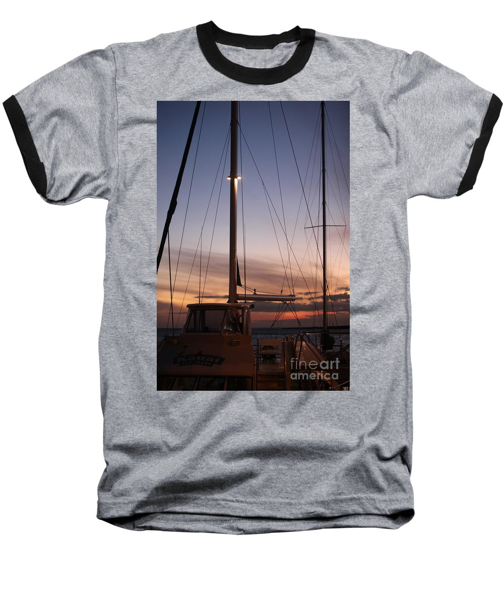 Sunset Baseball T-Shirt featuring the photograph Sunset And Sailboat by Nadine Rippelmeyer