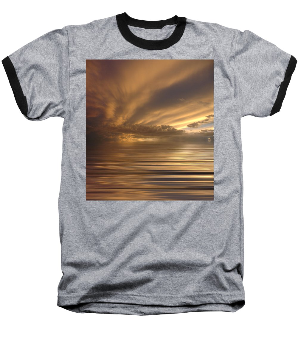 Sunset Baseball T-Shirt featuring the photograph Sunset At Sea by Jerry McElroy