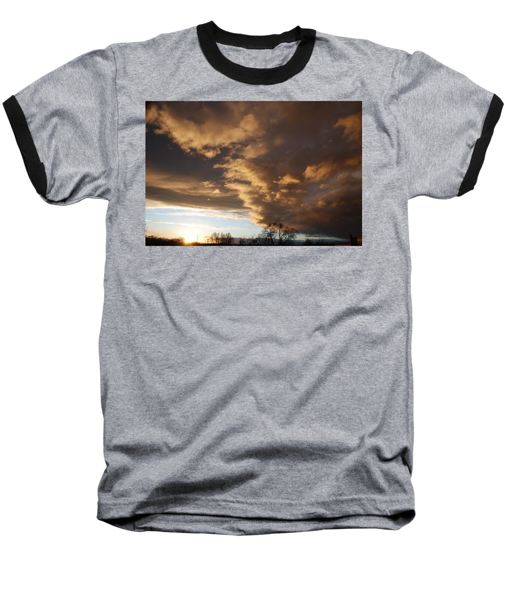 Sunset Baseball T-Shirt featuring the photograph Sunset At The New Mexico State Capital by Rob Hans