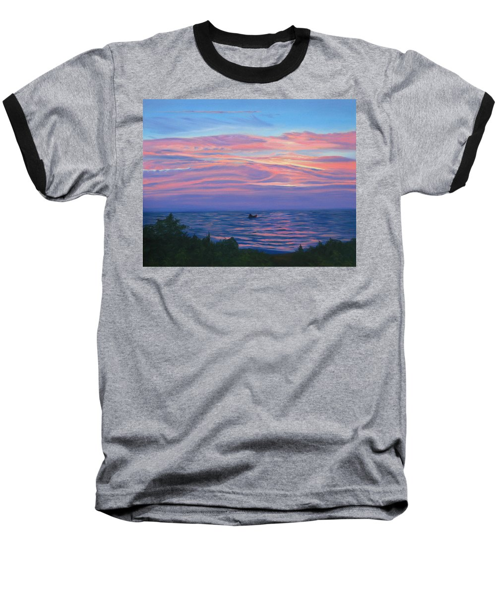 Seascape Baseball T-Shirt featuring the painting Sunset Bay by Lea Novak