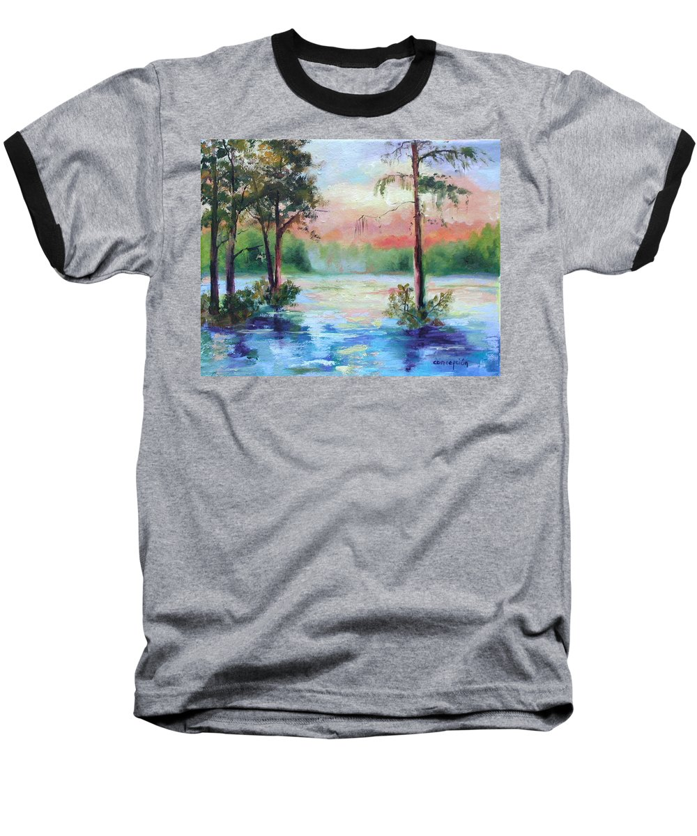 Sunset Baseball T-Shirt featuring the painting Sunset Bayou by Ginger Concepcion