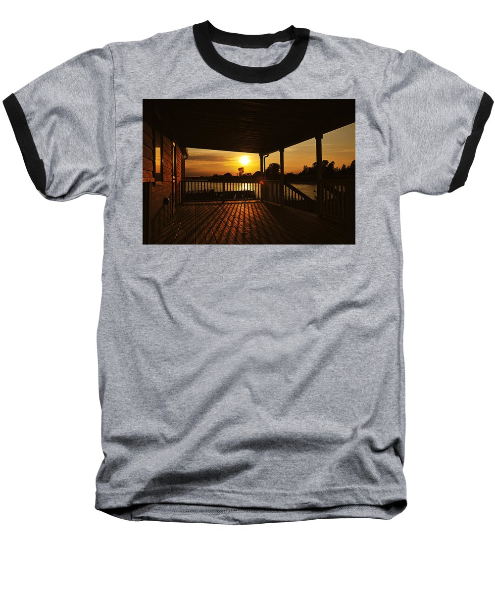 Sunset Baseball T-Shirt featuring the photograph Sunset By The Beach by Angel Cher