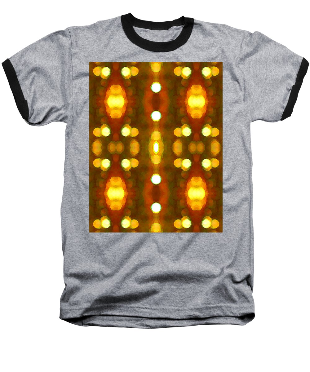 Abstract Baseball T-Shirt featuring the painting Sunset Glow 2 by Amy Vangsgard