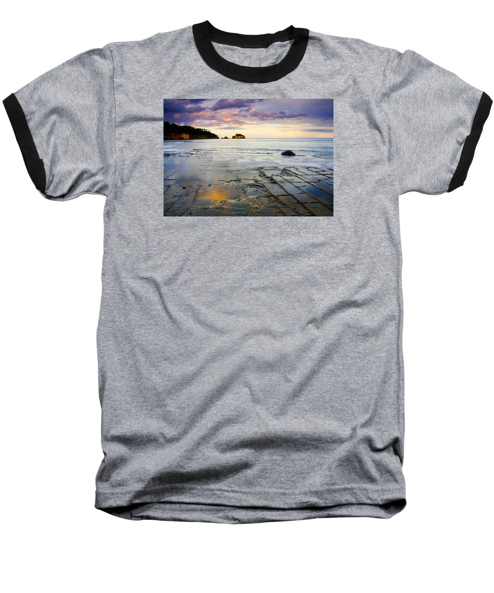 Tesselated Pavement Baseball T-Shirt featuring the photograph Sunset Grid by Mike Dawson
