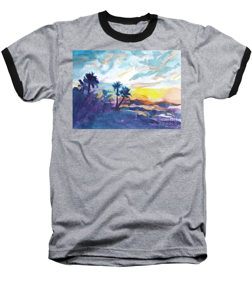 Landscape Baseball T-Shirt featuring the painting Sunset In Hawaii by Jan Bennicoff