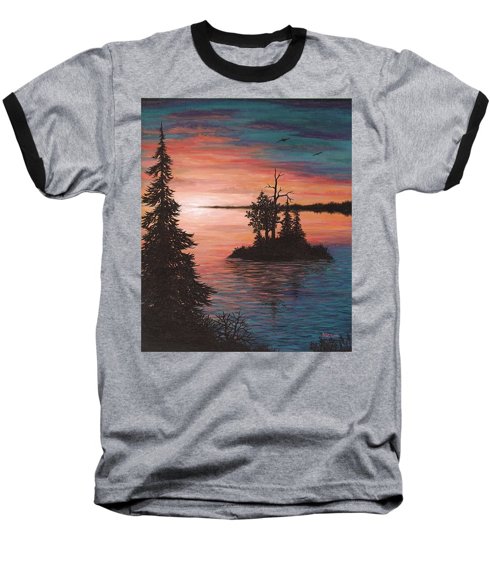 Sunset Baseball T-Shirt featuring the painting Sunset Island by Roz Eve