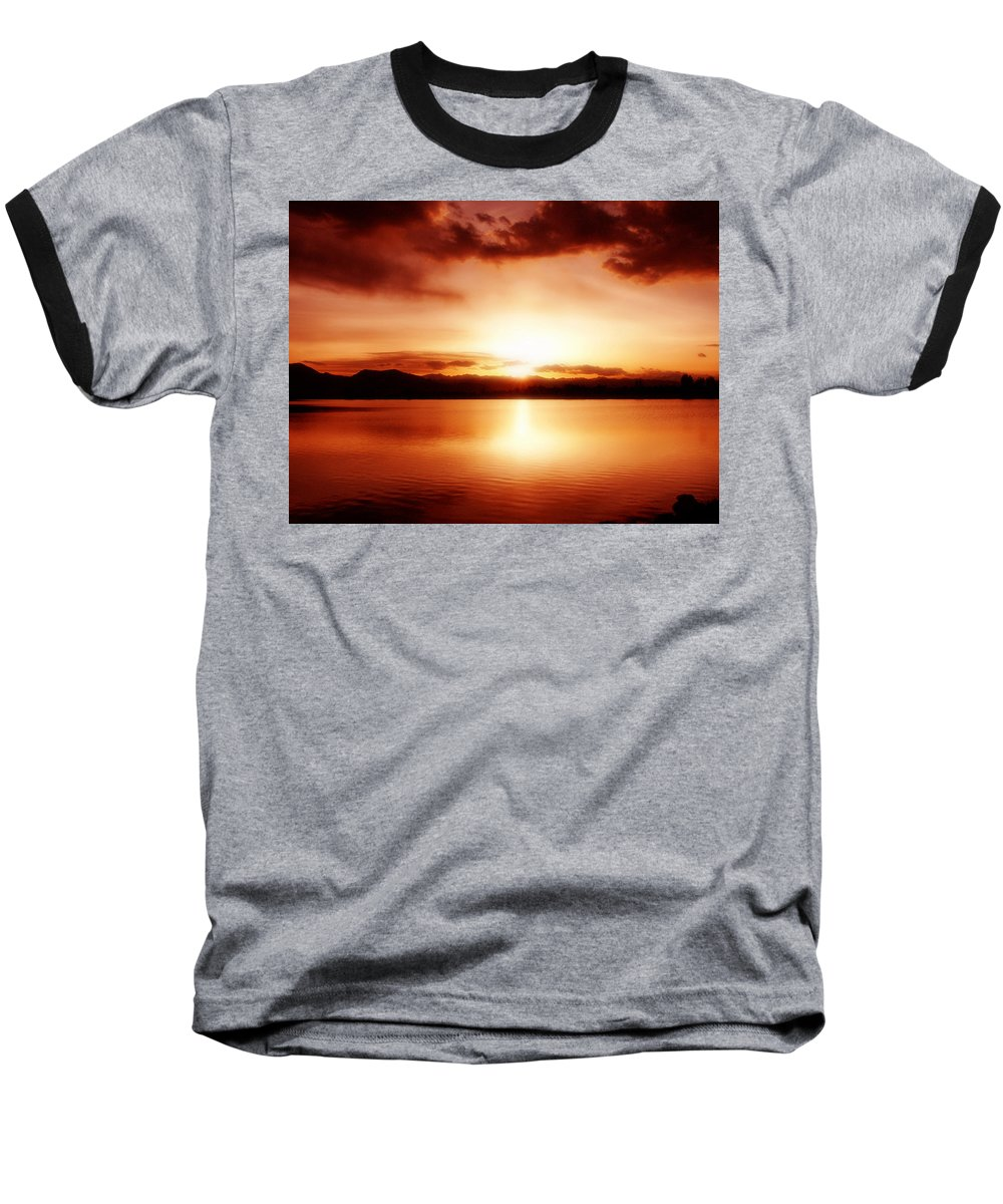 Lake Baseball T-Shirt featuring the photograph Sunset by Marilyn Hunt