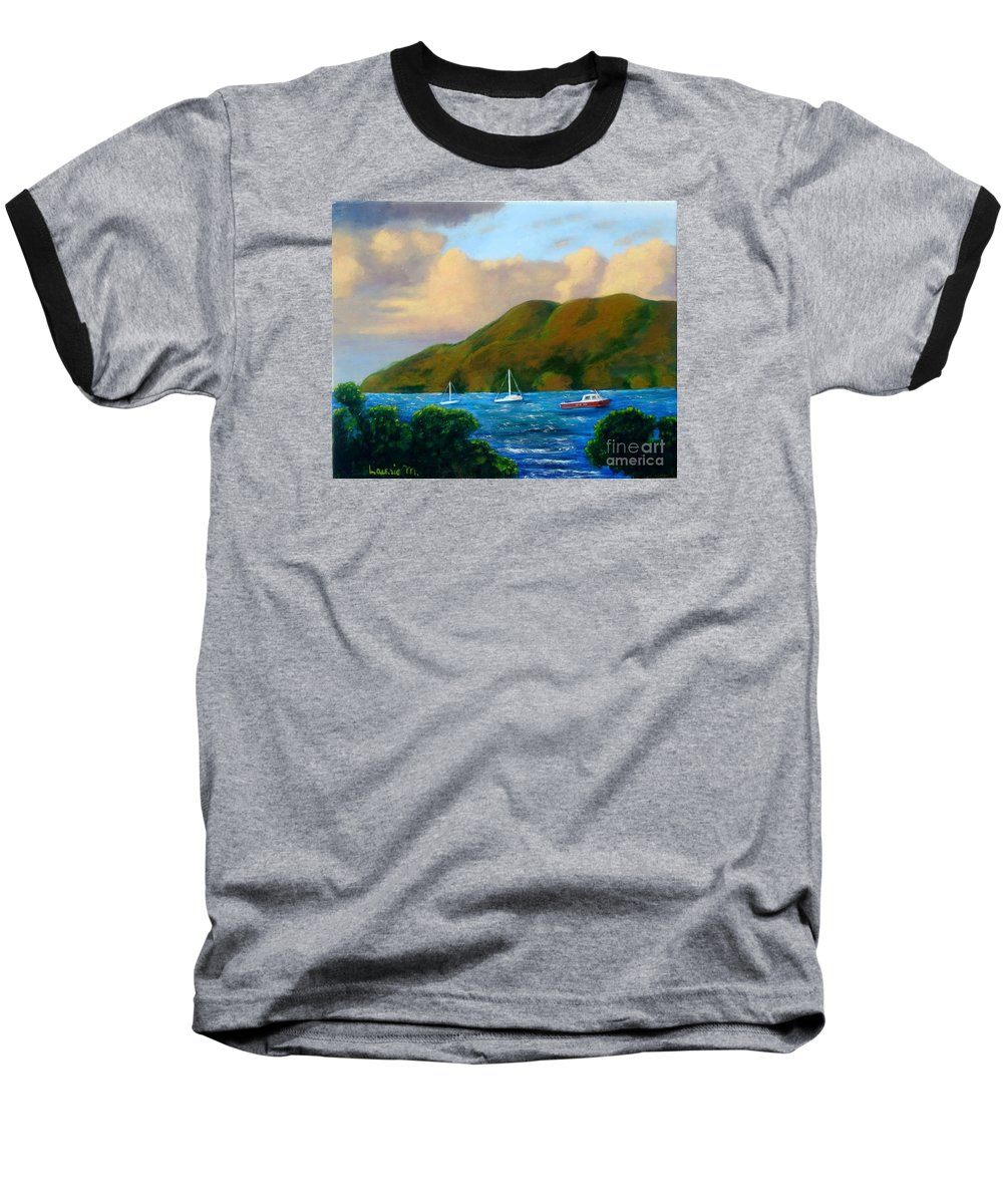 Sunset Baseball T-Shirt featuring the painting Sunset On Cruz Bay by Laurie Morgan