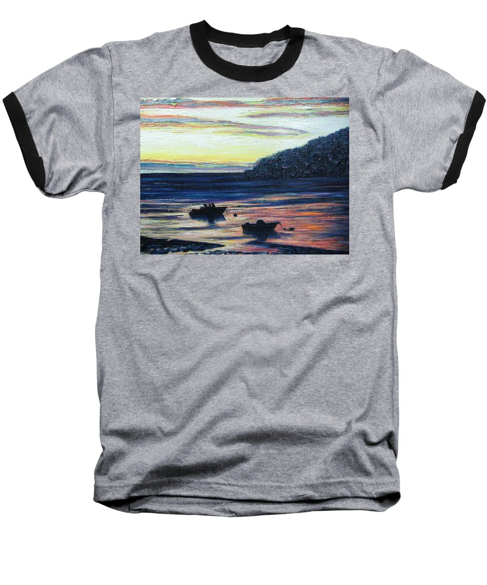 Maine Baseball T-Shirt featuring the painting Sunset On Maine Coast by Richard Nowak