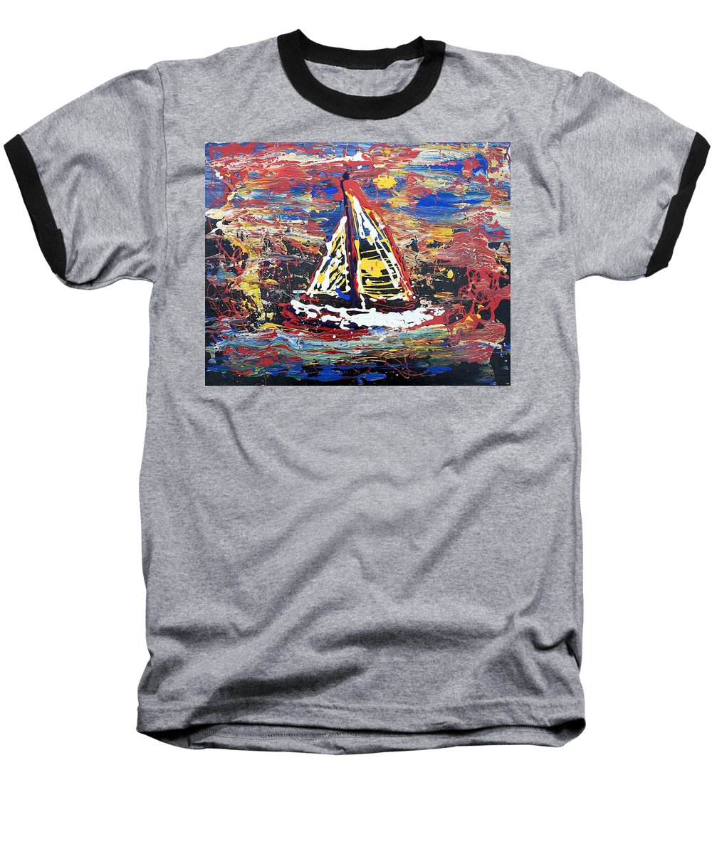 Sailboat Baseball T-Shirt featuring the painting Sunset On The Lake by J R Seymour