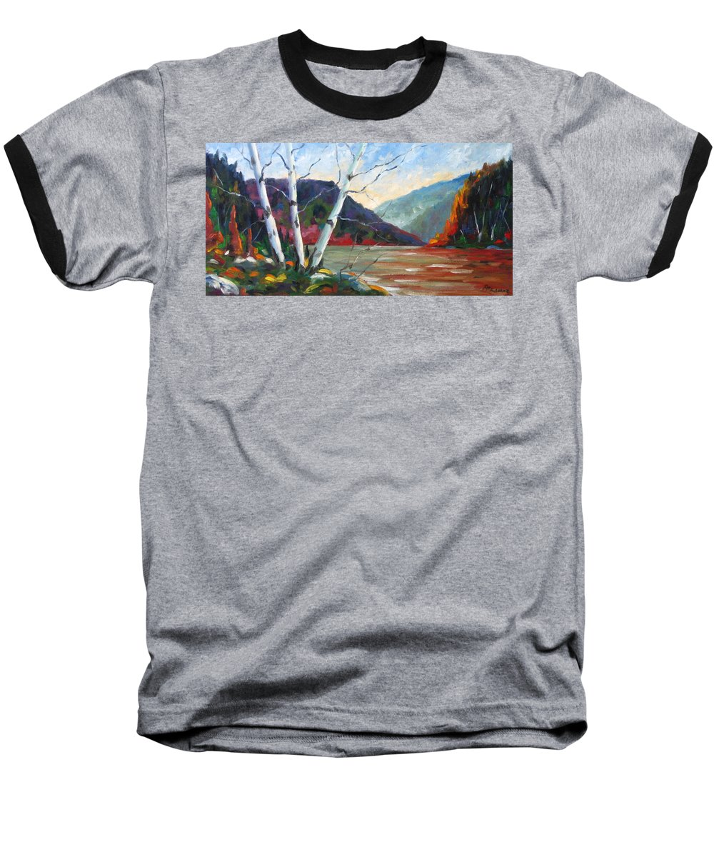 Landscape; Landscapes/scenic; Birches;sun;lake;pranke Baseball T-Shirt featuring the painting Sunset On The Lake by Richard T Pranke