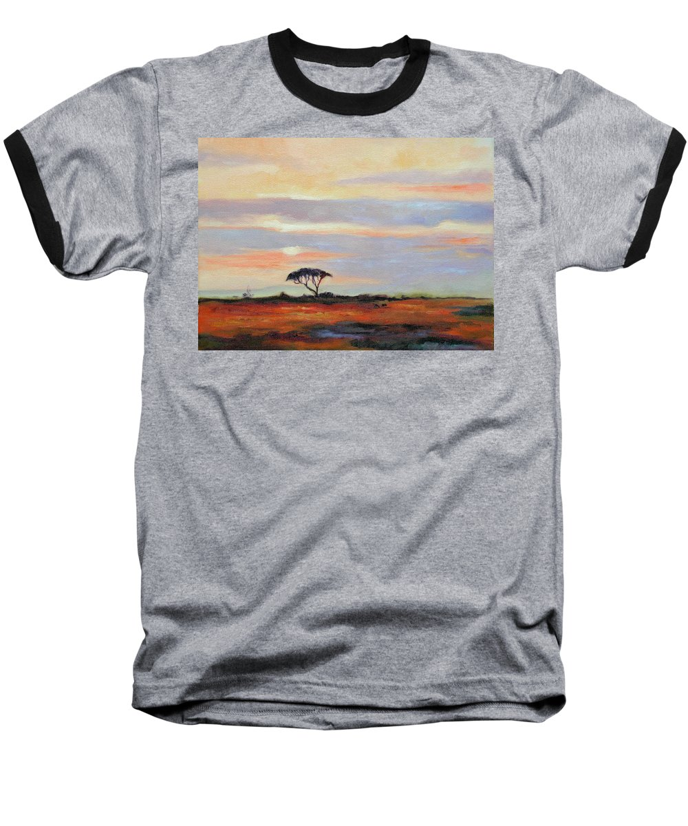 Landscape Baseball T-Shirt featuring the painting Sunset On The Serengheti by Ginger Concepcion