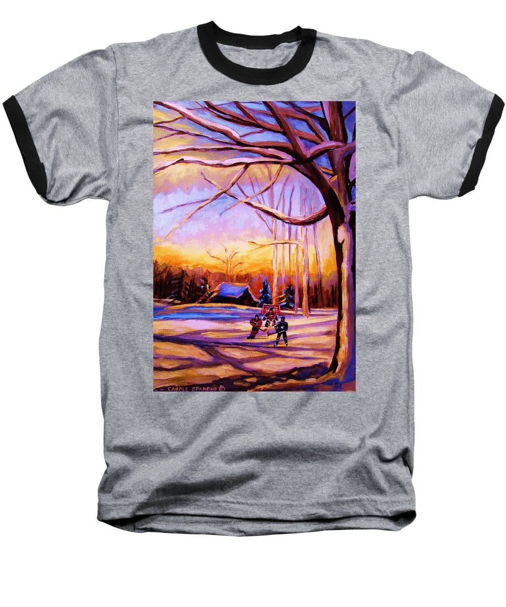 Sunset Over Hockey Baseball T-Shirt featuring the painting Sunset Over The Hockey Game by Carole Spandau