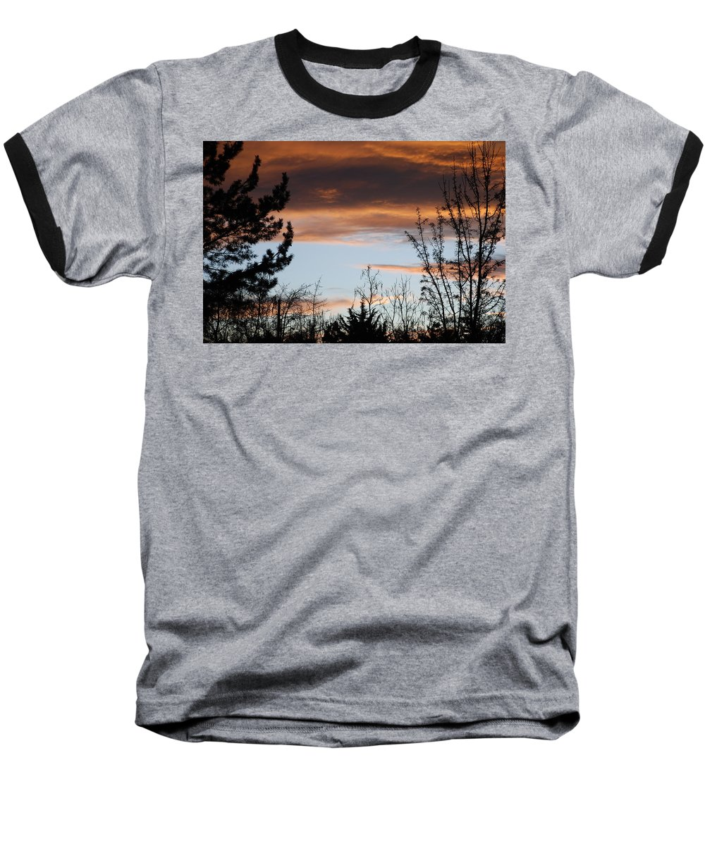 Sunset Baseball T-Shirt featuring the photograph Sunset Thru The Trees by Rob Hans
